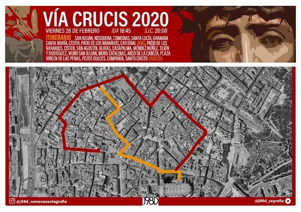 Infografia con el Horario e Itinerario del Vía Crucis Agrupación de Málaga el próximo 28 de Febrero