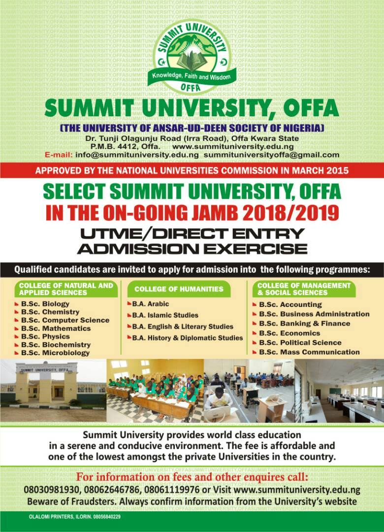 Summit University, Offa post utme
