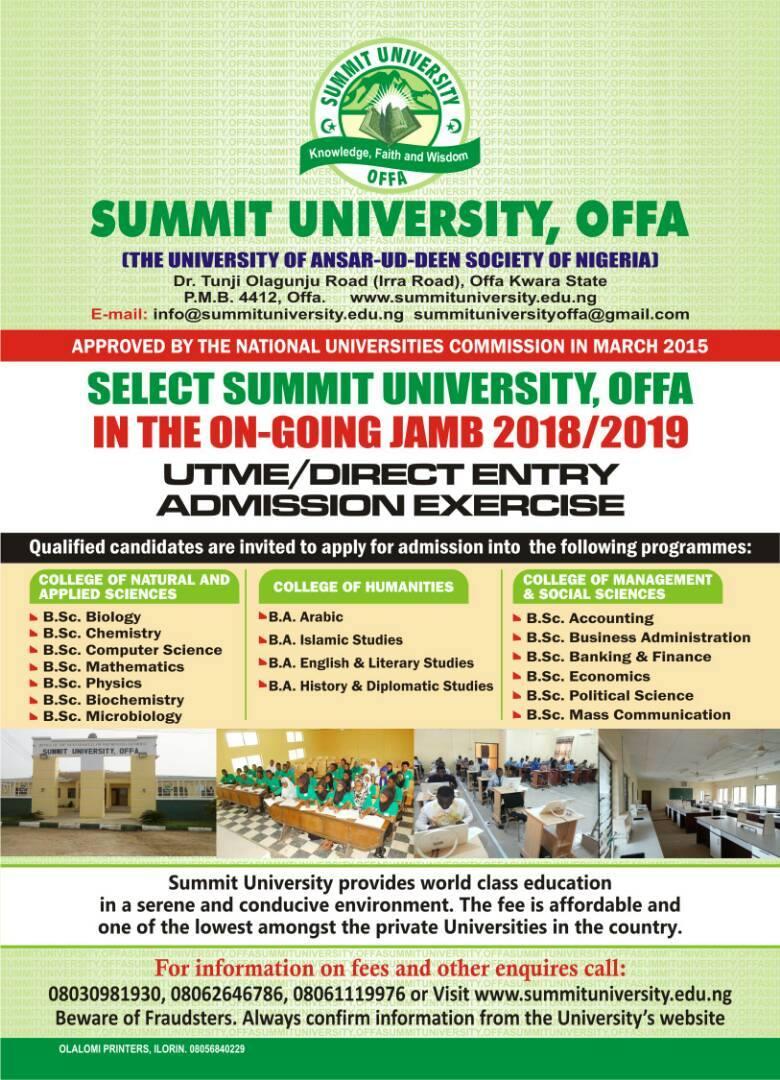 Summit University, Offa post utme