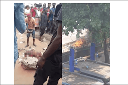Danfo Bus Conductor Set Ablaze For Stabbing Passenger To Death Over N50 Today (Photos)