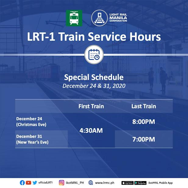 LRT-1 schedule for December holidays