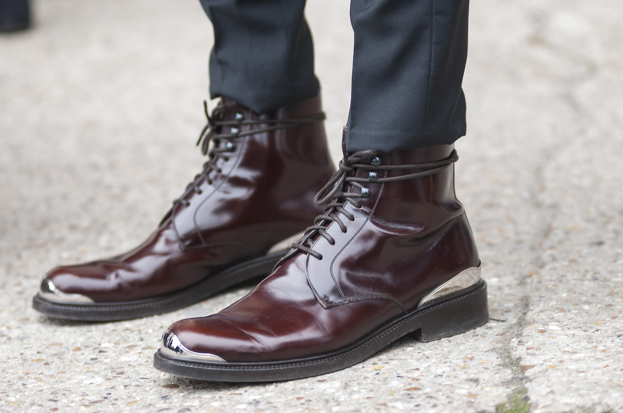 Dark Brown Ankle Shoes With Denim
