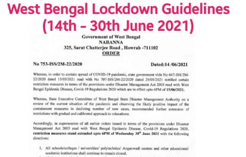 West Bengal Lockdown Guidelines (14th - 30th June 2021) pdf