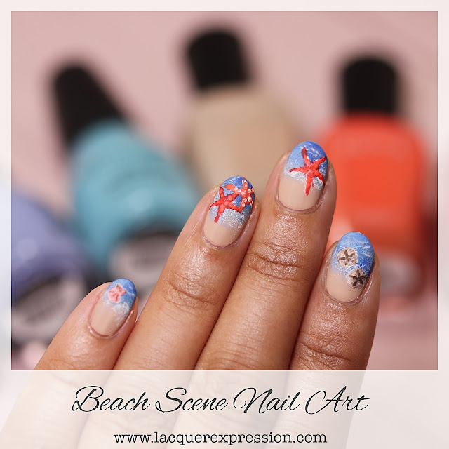 step-by-step Hand painted Summer Beach Nail Design with ocean, starfish, and sand dollar