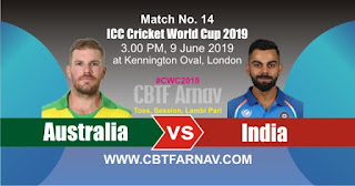 14th Match Aus vs Ind World Cup 2019 Today Match Prediction
