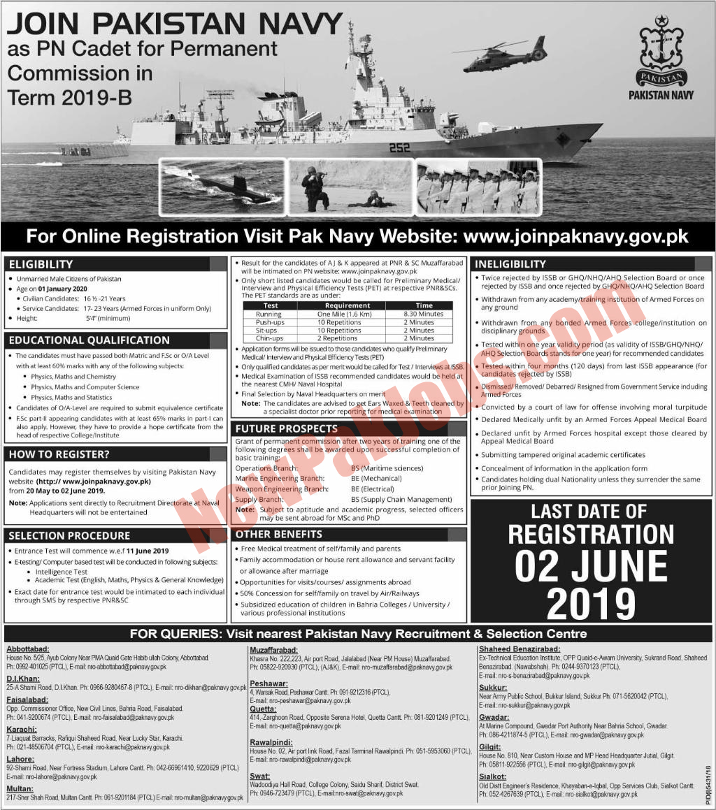 Join Pak Navy as PN Cadet Batch B-2019 May 2019