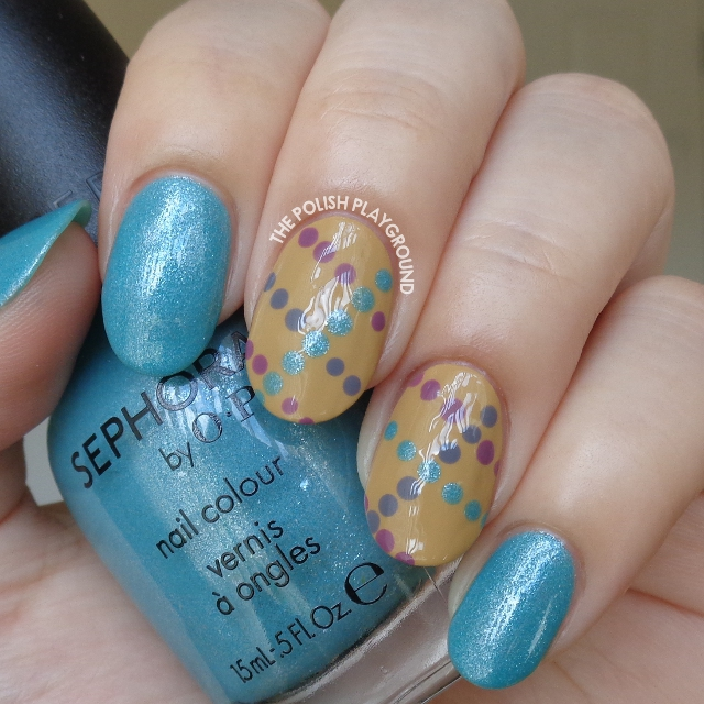Light Blue Shimmer with Dotted Lines Nail Art