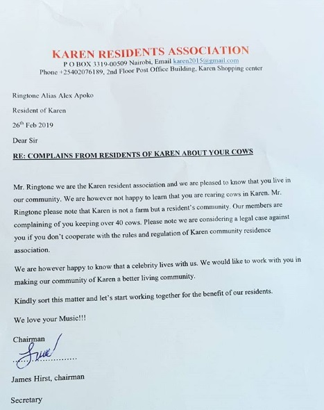 3 - Gospel artist womanizer, RINGTONE, in trouble, See the letter Karen residents have written to him