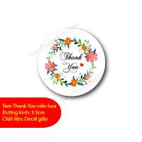 Tem thank you viền hoa