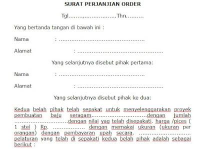 Contoh Surat Perjanjian Order Yang Baik dan Benar