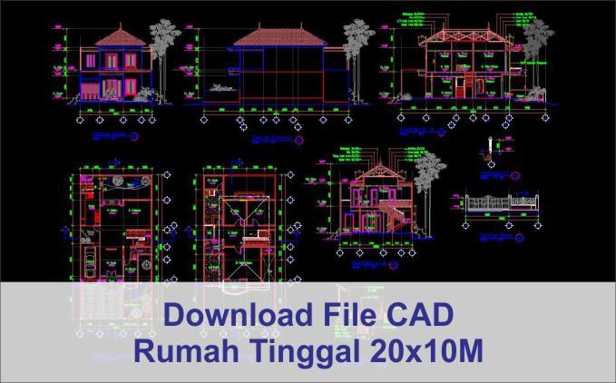 download rumah 20x10 File AutoCad