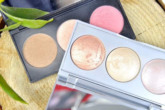paletka do konturowania golden rose metals sculpting palette, paletka rozświetlaczy strobing highlighter baked trio
