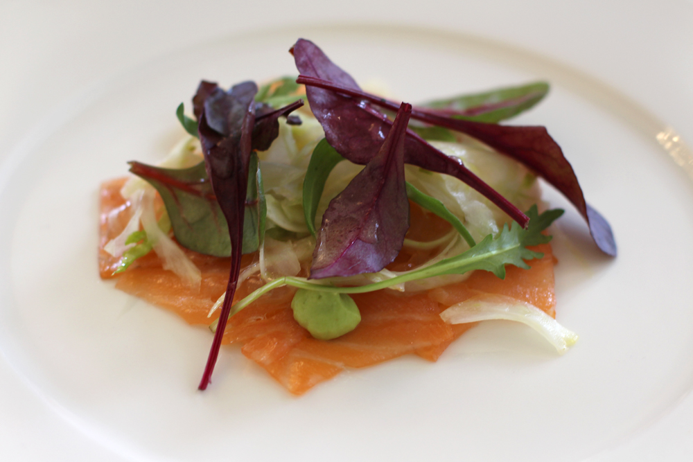 Smoked salmon starter at the Rushton Hall orangerie, Northamptonshire - UK luxury travel blog