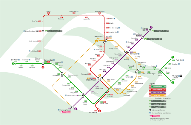 Mappa completa della metropolitana di Singapore