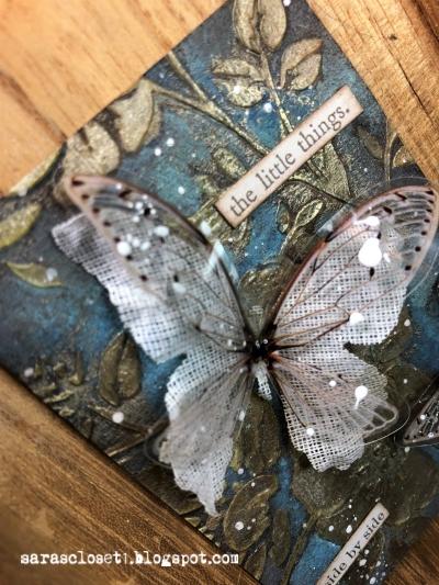 Sara Emily Barker https://sarascloset1.blogspot.com/ Mixed Media ATC with Tim Holtz Stencils, Oxides and Transparent Wings 2
