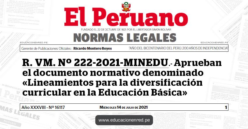 R. VM. Nº 222-2021-MINEDU.- Aprueban el documento normativo denominado «Lineamientos para la diversificación curricular en la Educación Básica»