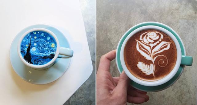 Barista obras de arte con la espuma del café