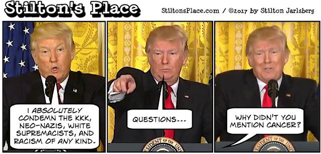 stilton's place, stilton, political, humor, conservative, cartoons, jokes, hope n' change, trump, charlottesville, condemn, white power
