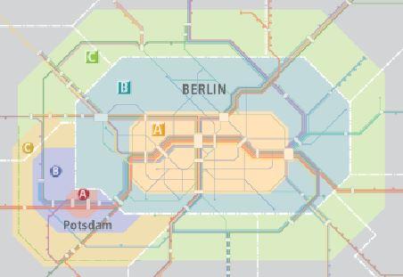 Berlin ABC區 及波茨坦ABC區 交通票價分區圖
