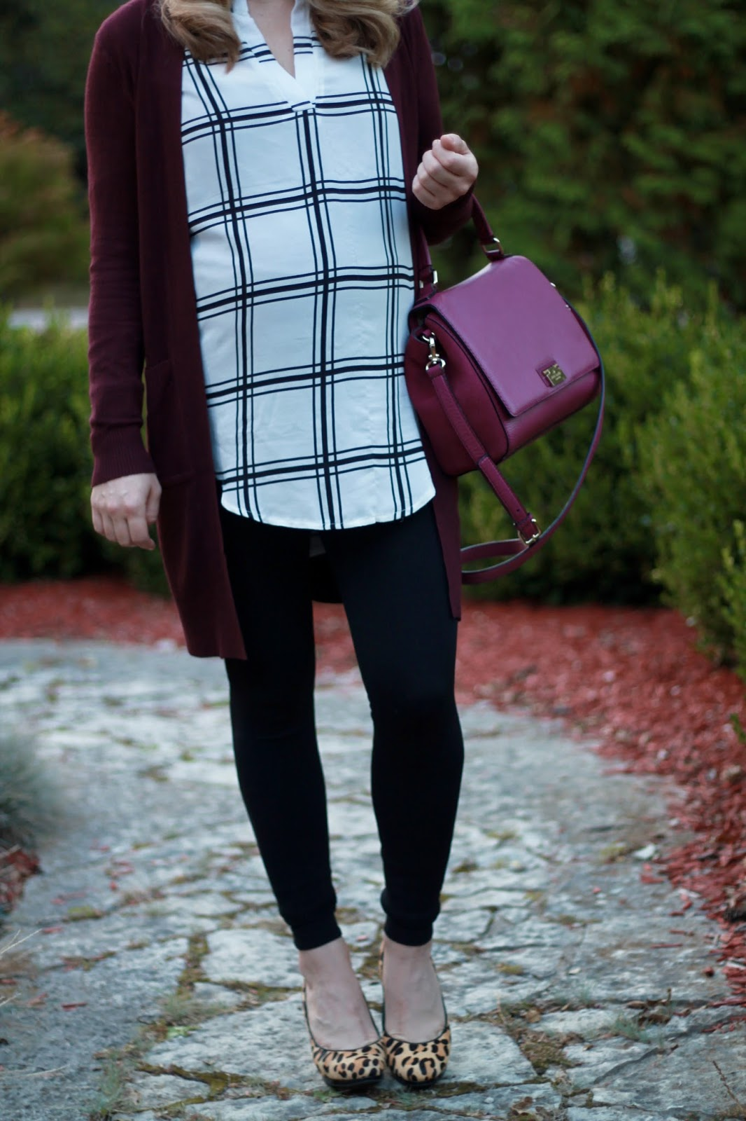 white windowpane blouse, burgundy cardigan, black leggings, leopard heels, Kate Spade berry color bag