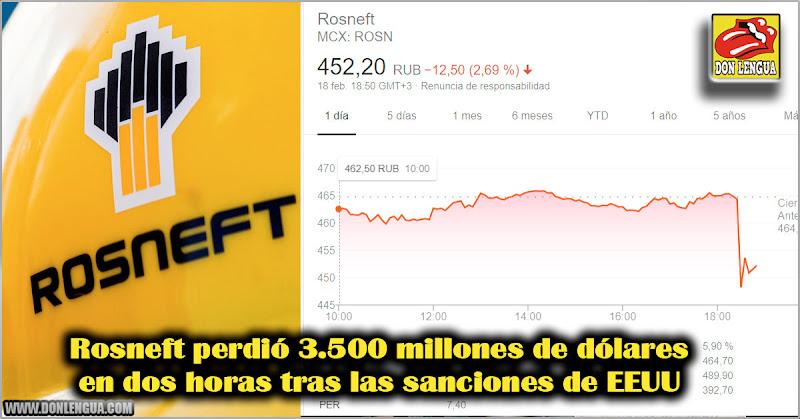 Rosneft perdió 3.500 millones de dólares en dos horas tras las sanciones de EEUU