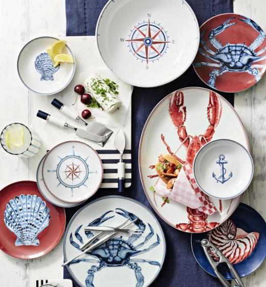Nautical Maritime Dinnerware Collection Blue Red White Ceramic