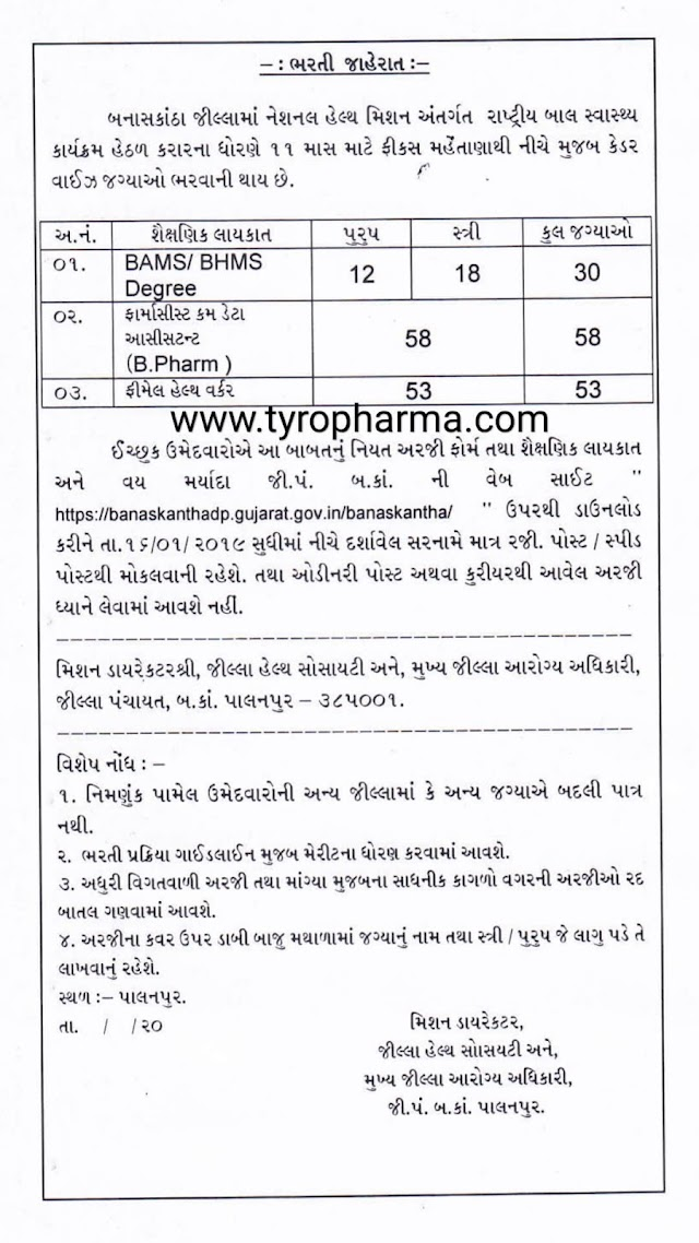 NHM Banaskantha Jobs 2019 – Apply For Pharmacist job 58 Vacancies