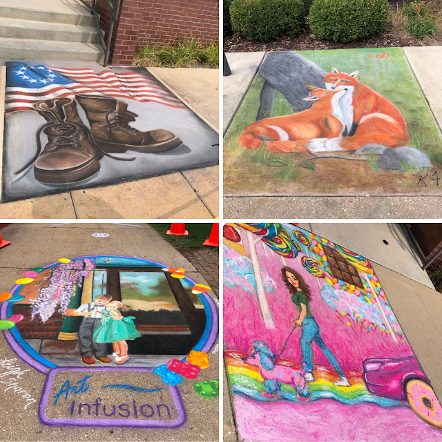 Completed chalk art pieces captivate.