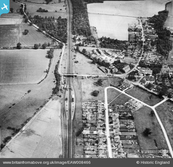 Photograph of Brookmans Park Railway Station and the London & North Eastern Railway line (LNER), Brookmans Park, 1947 Image courtesy of Britain From Above
