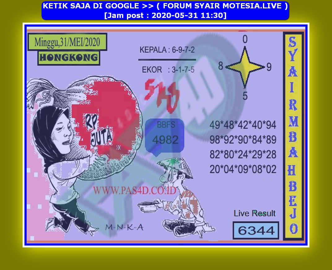 Kode syair Hongkong Minggu 31 Mei 2020 253