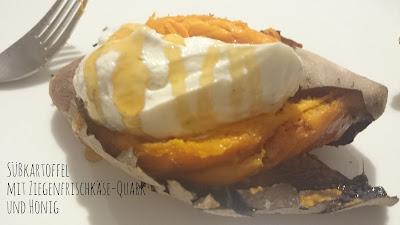 [Food] Gebackene Süßkartoffel mit Ziegenkäse-Quark und Honig