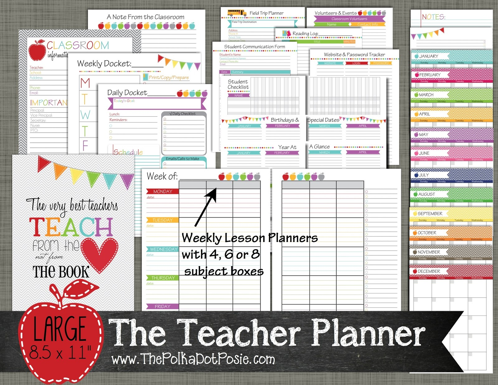 The Polka Dot Posie New Teacher Amp Homeschool Planners