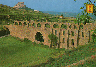 Morella, postal, castillo, acueducto, Castellón