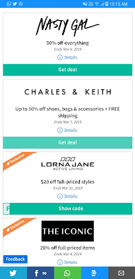 Discount Charles & Keith, Nasty Gal Upto 50%