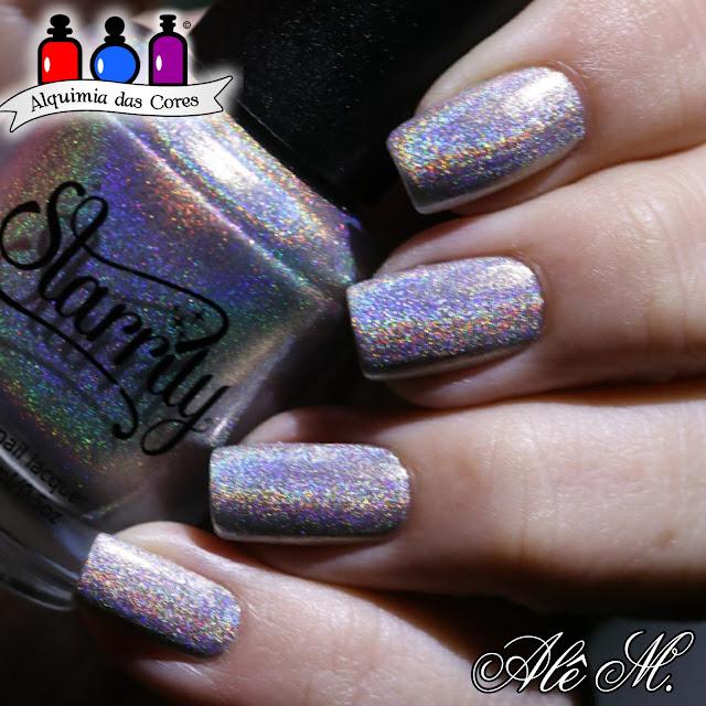 Esmalte para carimbo La Femme, Preto, Carimbado, Starrily, Magic Rainbow, Silver Holo, EDA05, Alê M.