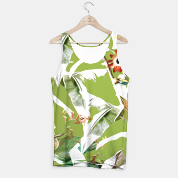 botanical pattern greenery pantone color printed tank top live heroes