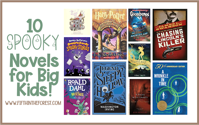 Image of 10 covers of upper elementary novels with the title 10 spooky novels for big kids www.fifthintheforest.com