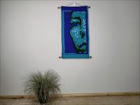Original Fine Art Abstract Portrait Tapestry - Wondering - Jen Ten Art
