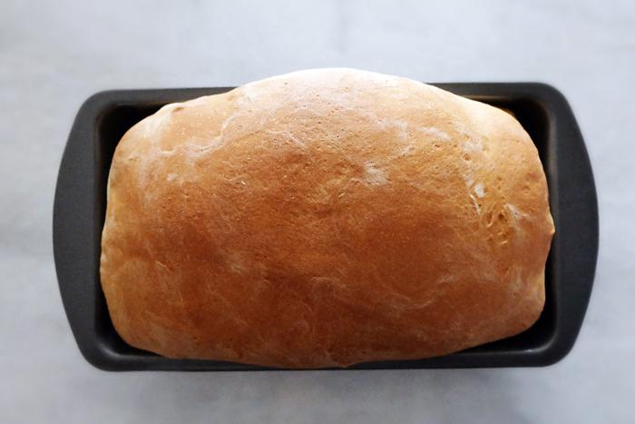 freshly baked buttermilk bread in loaf pan