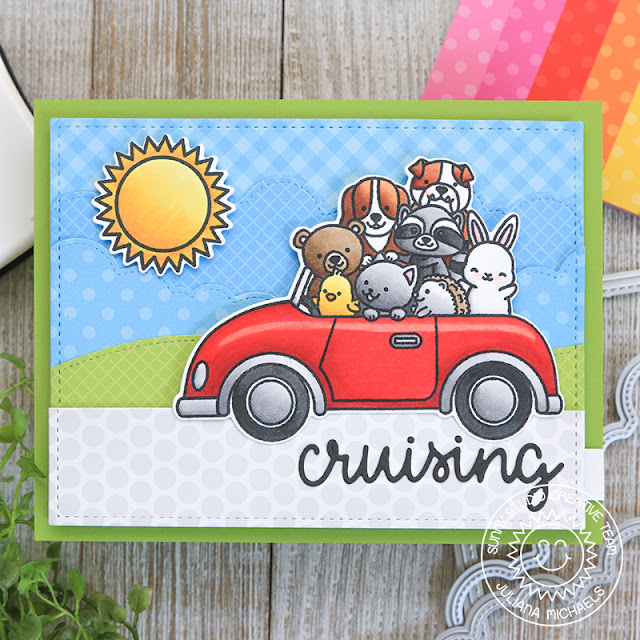 Sunny Studio Stamps: Cruising Critters Comic Strip Speech Bubble Dies Fluffy Clouds Border Dies Hello Card by Juliana Michaels