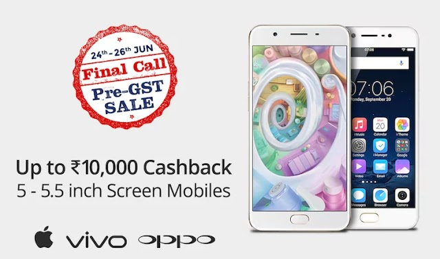 10,000 Rs Cashback on 5 and 5.5 inch screen Branded Mobiles on Paytm