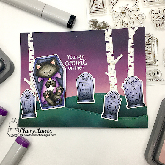 You can count on me by Claire features Land Borders, Count Newton, and Forest Scene Builder by Newton's Nook Designs; #inkypaws, #newtonsnook, #halloweencards, #catcards, #cardmaking