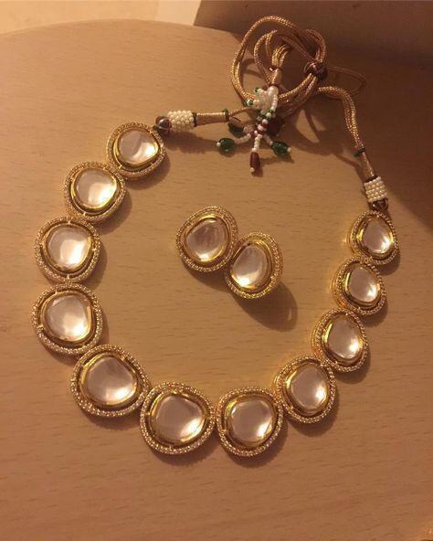 Faceted Cut  Polki Set Earrings