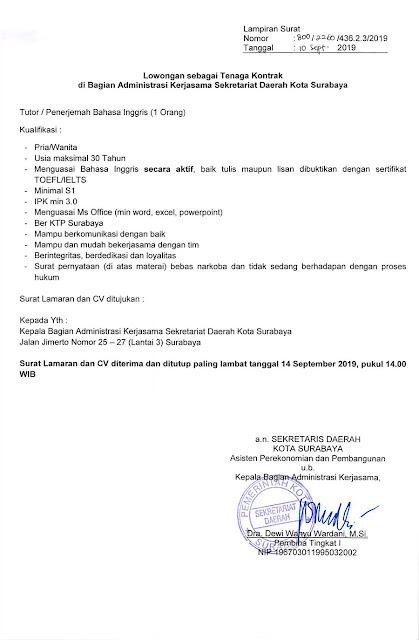 Informasi lowongan kerja terbaru kali ini berasal dari Sekretariat Daerah Kota Surabaya Lowongan Kerja Sekretariat Daerah Kota Surabya