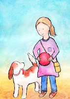 Postcard illustration of a girl and a dog