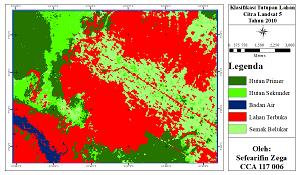 Laporan praktikum ini bertujuan untuk menganalisis perubahan tutupan lahan pada suatu kawasan. Data yang digunakan untuk analisis ini menggunakan dua periode waktu yakni data citra landsat 5 tahun 2010 dan data citra landsat 8 tahun 2020. Analisis perubahan dilakukan pada lima kelas tutupan lahan yaitu hutan primer, hutan sekunder, semak belukar, badan air, lahan terbuka, dan pemukiman.