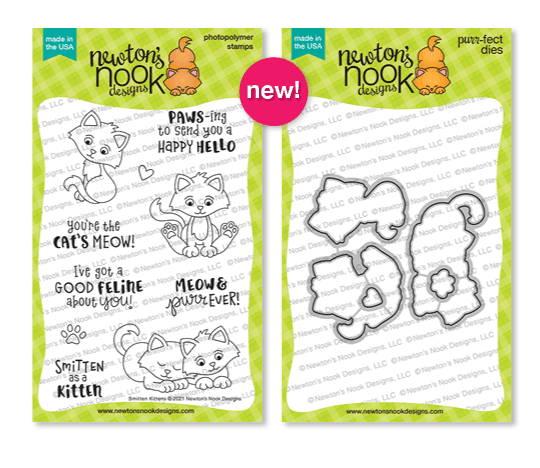 Smitten Kittens Stamp Set and Die Set by Newton's Nook Designs #newtonsnook