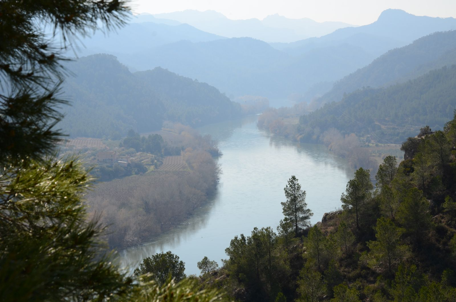 A view from the Castle of Miravet over a bend on river Ebro