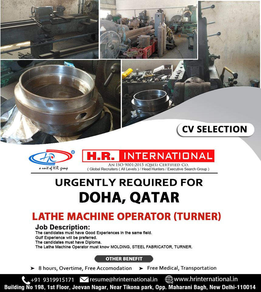 Lathe Machine Operator requires for Saudi Arabia