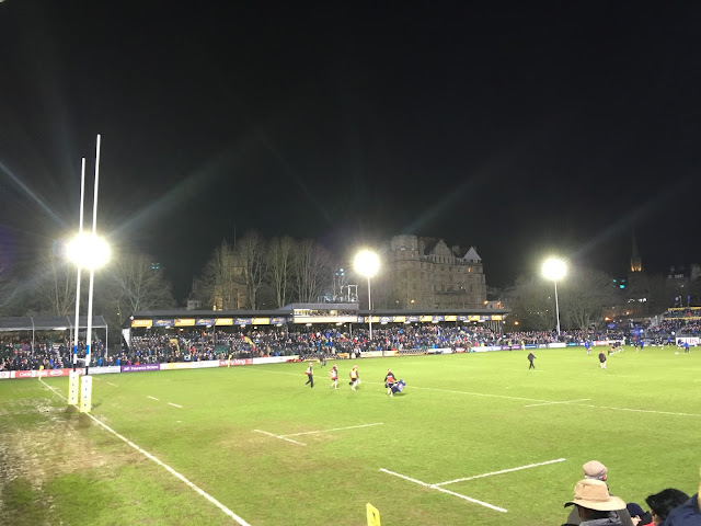 Watching Bath vs Gloucester at the Rec rugby ground, Bath